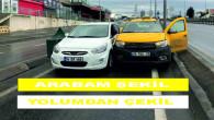 Taksici ve sürücü arasındaki yol verme inadı, bomboş yolda kazaya neden oldu