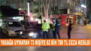 Yasağa Uymayan 73 Kişiye 62 Bin 780 TL Ceza Kesildi