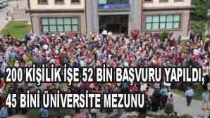 200 kişilik işe 52 bin başvuru yapıldı, 45 bini üniversite mezunu