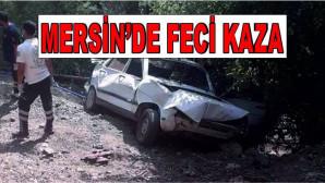 Mersin'in Mezitli İlçesinde Trafik Kazası! Kontrolden Çıkan Otomobil Ağaçlık Alana Uçtu, 1 Ölü 1 Yaralı