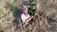 Bursalı tiyatrocu Bahtiyar Keskin, fidan dikimine teşvik için kendini diri diri toprağa gömdü